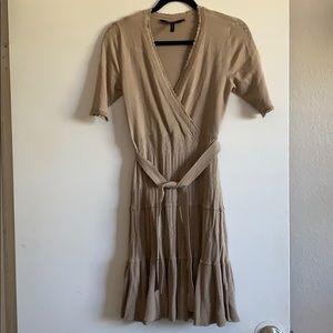 Nude silk/cotton blend knee high dress.